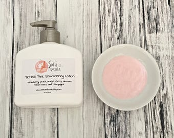 Body Lotion - Mothers Day Gift - Natural Lotion - Shimmering Lotion - Homemade Lotion - Pink Lotion - Strawberry Lotion