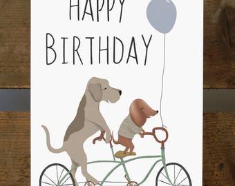 "Happy Birthday Dogs Tandem Bike Blank Greeting Card 7x5"""