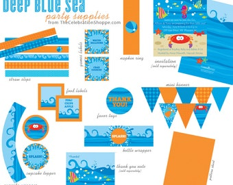 DEEP BLUE SEA Birthday Party and Pool Party Supplies by The Celebration Shoppe