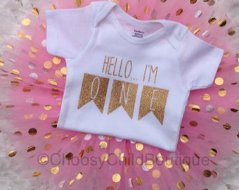 First Birthday Outfit, First Birthday Onesie®, First Birthday Girl, First Birthday Onesie®, One Onesie®, Pink and Gold Tutu