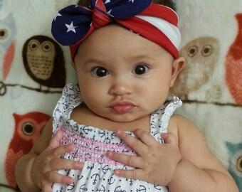 Baby Headband, 4th of july headband, Baby Girl Headband, Infant Headband, Baby Headwrap, Red and White Stripes with Stars on Blue Headband