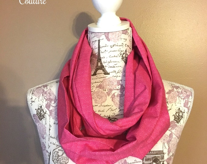 Infinity scarf, pink and white arcs