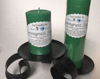 Lemongrass Sage Scented Soy Wax Pillar Candles