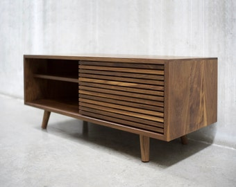 "48"" Solid Black Walnut Media Console/ Credenza/ Cabinet with Slatted Doors"