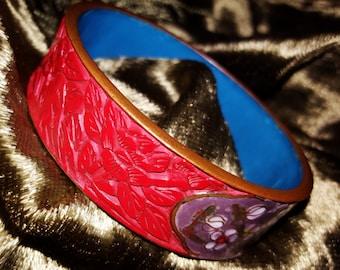 Vintage cinnabar and cloisonne bangle bracelet hand carved rare beauty!