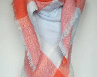 Coral/Baby Blue Plaid Scarf, Winter Scarf, Plaid Scarf, Large Triangle Plaid Scarf, Plaid Shawl, Blanket Scarf, Women's Scarf, Ladies Gifts