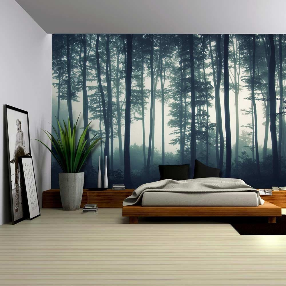 Landscape Mural Of A Misty Forest Wall Mural Removable
