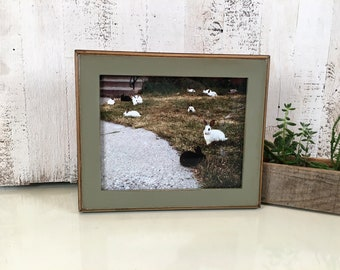 8x10 Picture Frame with Vintage Old Green Finish in 2-Tone Style - IN STOCK - Same Day Shipping - 8 x 10 Green Photo Frame