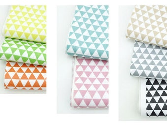 "Mini Triangles Laminated Cotton Fabric - Yellow, Green, Orange, Teal, Indi Pink, Beige, Gray or Black - 44"" Wide - By the Yard 39916"