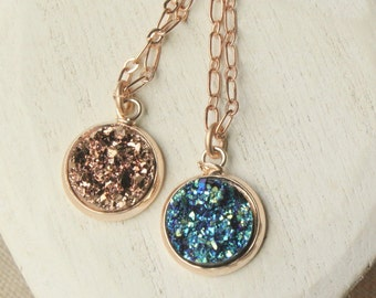 "Blue Druzy Pendant or Rose Gold Druzy necklace, choose the length of your chain 14"" - 40"" SF110"
