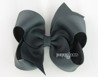 Charcoal Hair Bow - 4 Inch Classic Boutique Hairbow - Baby Toddler Girl - Dark Gray Grey Solid Color Basic Hairbows