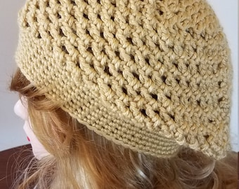Honey Color Slouch Beret Hat - Ready to be Shipped