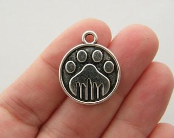 6 Paw print charms tibetan silver A467