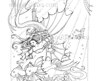 Freedom mermaid Digi Stamp Digital Coloring Page for adults - for scrapbooking or cards or coloring