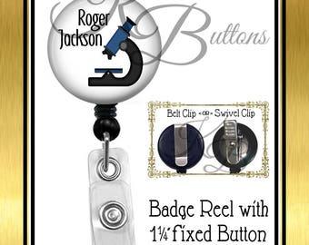 Pathologist Badge Reel, Microscope Badge Reel, Lab Badge Reel, Science Teacher Retractable Badge Reel, BRT005