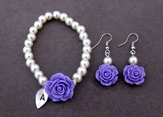 Flower Girl Jewelry Set, Flower Girl Gift, Blue Rose Flower Charm, Rose Flower Danglers, Flower Kids Pearl Jewelry Set, Free Shipping In USA