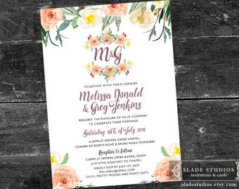 Monogram Wedding invitations in spring floral. Printable Invitations. Peach, coral, lemon watercolour floral.