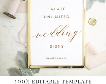 Wedding Sign Template, Editable Sign, Favor Sign, Guestbook Sign, Cards and Gifts, Rustic Calligraphy, Instant DOWNLOAD