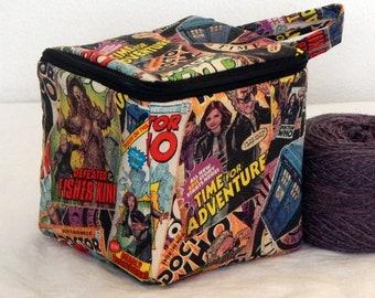 "Zippered project yarn box, 5.5"" x 5.5"" sock box bag, knitting, crochet, embroidery, Dr. Who, Tardis"