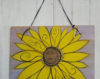 Hand Painted Sunflower Moon