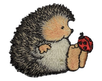 Hedgehog with Ladybug Applique Patch (Iron on)