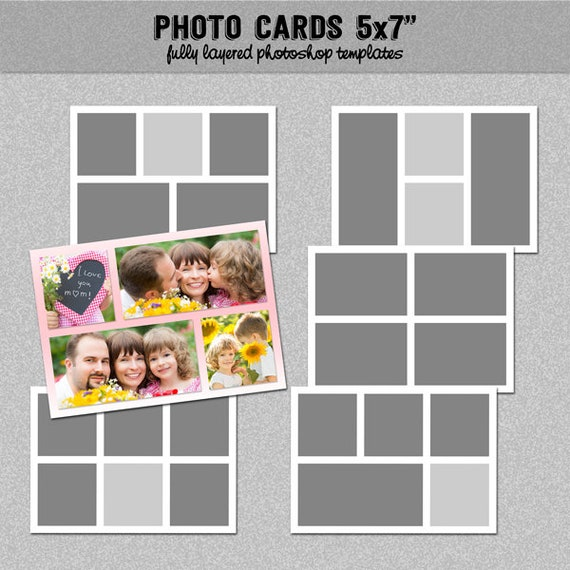 6 Photo Card Templates 5x7 Set 2 Instagram Collage Blog Board