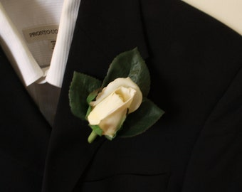 Ivory Real touch Rose Boutonniere