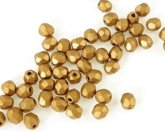 50 4mm MATTE METALLIC GOLDENROD Firepolish Czech Glass Beads - Fire Polish Faceted Autumn Fall Jewelry Supplies