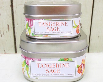 Tangerine Sage Soy Candle 4 oz. - Green Daffodil - Handpoured - Siouxsan and Anne -C4