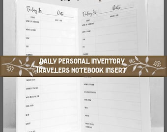 Travelers Notebook Insert: Daily Personal Inventory Journal.  40 Cover Color Choices, 9 Travelers Notebook Sizes.