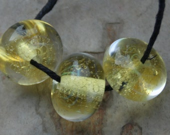 StoneyMarie Set of 3 Handmade Boro Borosilicate Lampwork Glass Beads Lemon