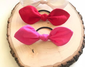 Knotted Bow Elastic Hair Ties, Knotted Girl Hair Ties, Elastic Hair Ties, Pink Red White