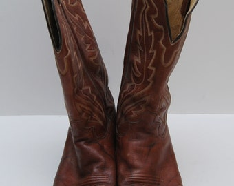 mens 1970s Justin Style brown leather cowboy boots