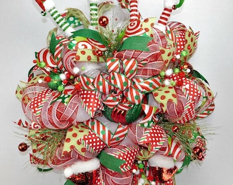 "29"" Deco mesh wreath red white and green wreath Elf wreath Christmas elf wreath Holiday wreath"