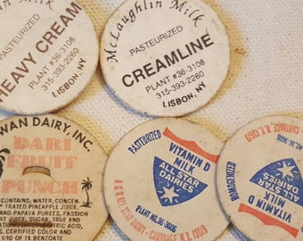 Vintage Assorted of 6 Milk / Cream / Heavy Cream / Fruit Punch Caps TAKE A L@@K!!