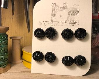 Retro Black glass buttons