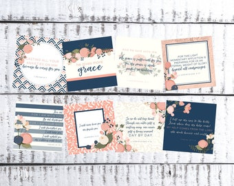 ESV Scripture Cards, Encouragement, comfort, Hope, Bible Verses, Trials, Navy Floral