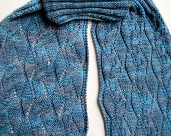 Knit Scarf Pattern:  Sculpted Cable Lace Turtleneck Scarf Pattern