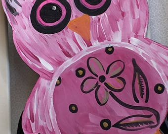 Hot pink Owl Bow Holder