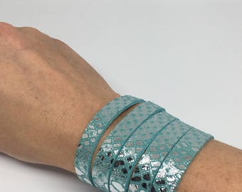 Turquoise and silver leather wrap cuff wide leather cuff leather bracelet split leather bracelet snakeskin leather cuff