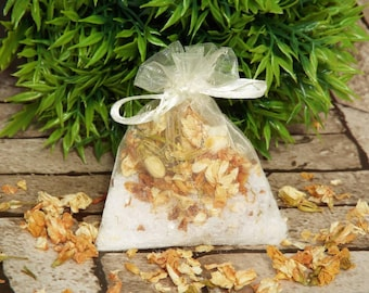Bath gift for her, bath teas, bath salts, Epsom salts, natural skincare, Jasmine & Lemon bath tea
