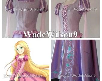 Tangled Rapunzel Princess Cosplay Dress Tangled Rapunzel Cosplay Costume Handcraft Size