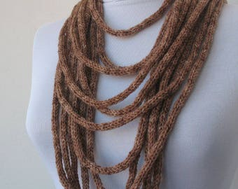 20% OFF SALE - Knit Scarf Necklace, Multi strand necklace,Loop Infinity scarf,Hand Knitted scarflette, in taupe brown E141