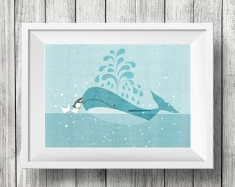 Blue Whale Made a Friend, Nursery Animal Wall Art, Kids Room, Ocean, Animals, Print