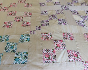 Cute  vintage 1960's champagne quilt top