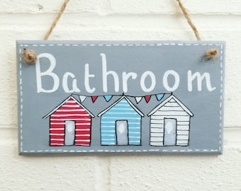 Bathroom sign, beach decor, bathroom decor,  beach huts plaque, wood sign, wood plaque, seaside decor, home decor, gift for her