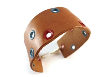 Distressed Leather Bracelet Tan, Wide Leather Bracelet Cuff Red and Blue Grommets, Leather Cuff Bracelet Wire Clasp, Tan Leather Jewelry