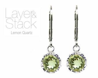 Layer & Stack Lemon Quartz Sterling Silver Drop Earrings