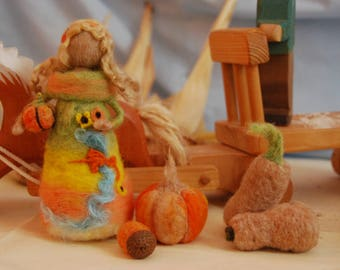 Needle felted autumn/harvest fairy with pumpkins