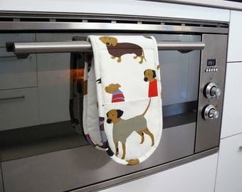 Double Oven Mitt - pot holder cute dogs